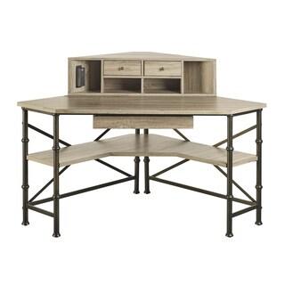 Griffeth Oak Corner Desk with Hutch