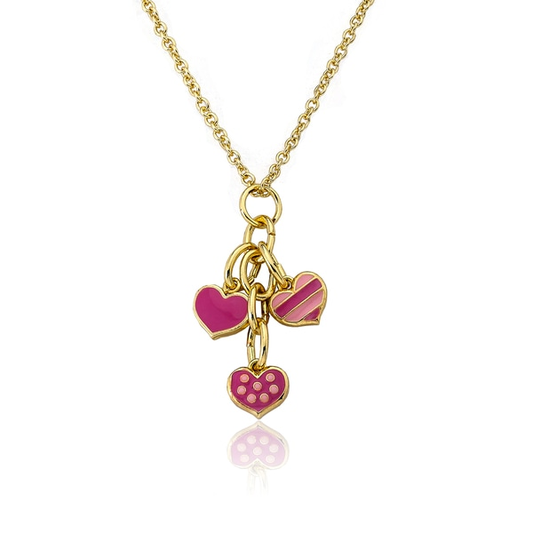 I Love My Jewels 14k Goldplated Polka-dot Heart with Pink Circles Necklace