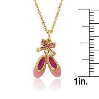 Little Miss Twin Stars 14k Goldplated Pink Enamel Ballet Shoes Pendant Necklace