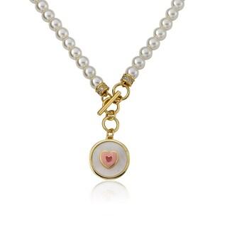 14k Goldplated Dangling Heart/ Flower/ Pink Cat Eye 14-inch Necklace
