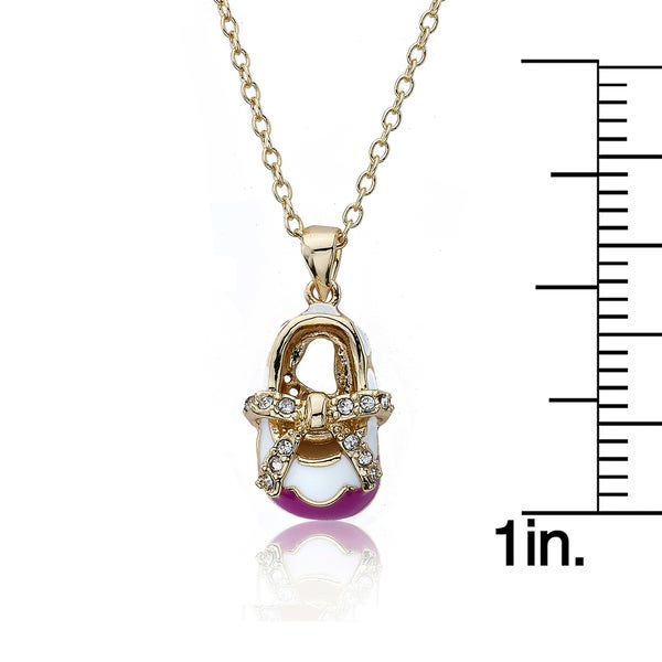 Shoebsessed 14k Goldplated Brightly Colored Shoe Necklace with A Cubic Zirconia Bow