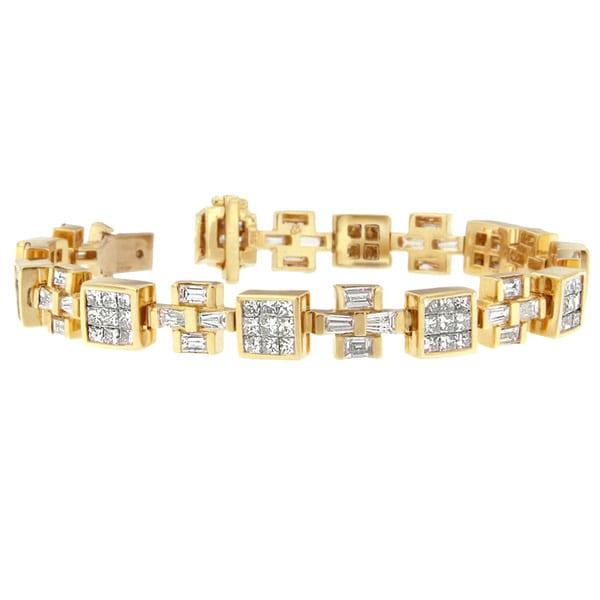 14k Yellow Gold 8 1/3ct TDW Princess and Baguette Diamond Bracelet (H-I,SI1-SI2)