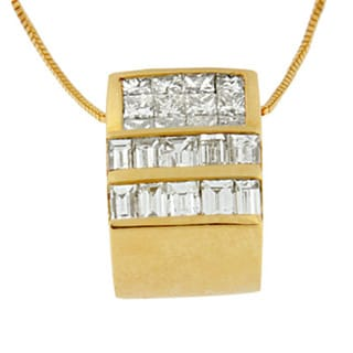 14k Yellow Gold 1 1/10ct TDW Princess and Baguette-cut Diamond Box Pendant (I-J, I2-I3)