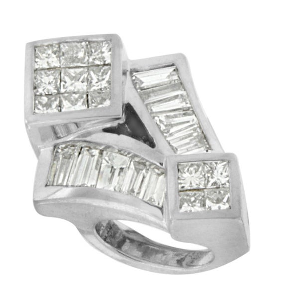 14k White Gold 1 5/8ct TDW Princess-cut Diamond Mixed Shape Pendant (I-J, I2-I3)