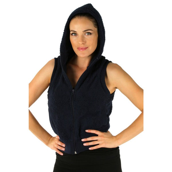 Women's Navy Hooded Fleece Vest