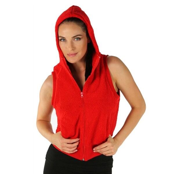 Women's Red Hooded Fleece Vest