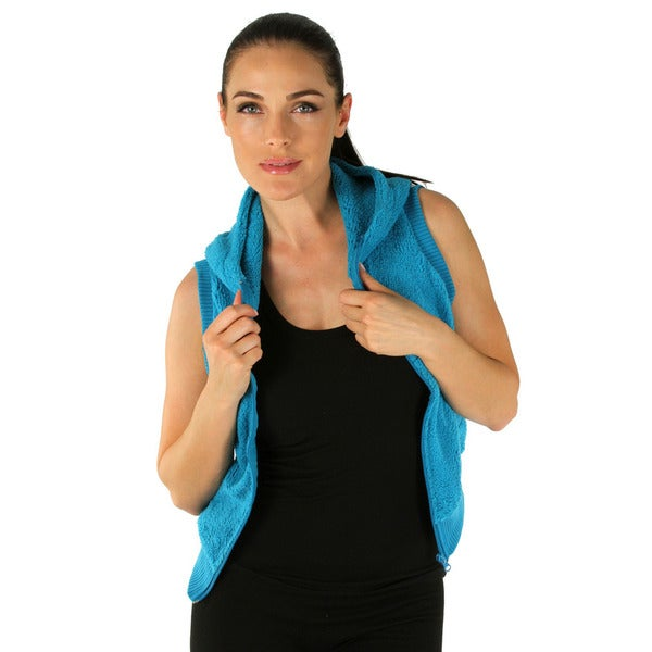 Women's Turquoise Hooded Fleece Vest