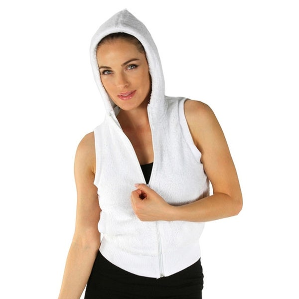 Women's White Hooded Fleece Vest