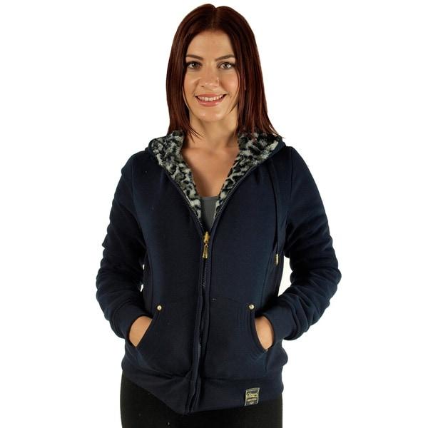 Women's Navy Reversible Animal Print Faux Fur Hooded Jacket