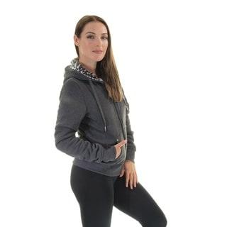 Women's Charcoal Reversible Animal Print Faux Fur Hoodie Jacket