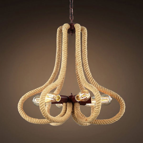 Graeme 6-light Hemp Rope Rusty Edison Chandelier with Bulbs