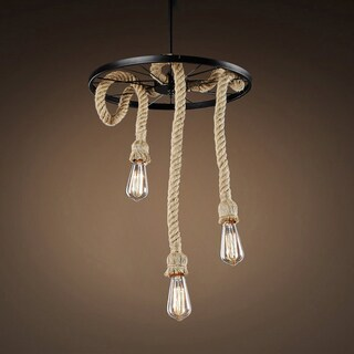 Tamia 3-light Hemp Rope 18-inch Edison Chandelier with Bulbs