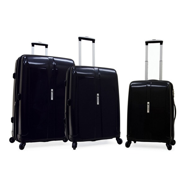 Samboro Shuttle Black 3-piece Expandable Hardside Spinner Luggage Set