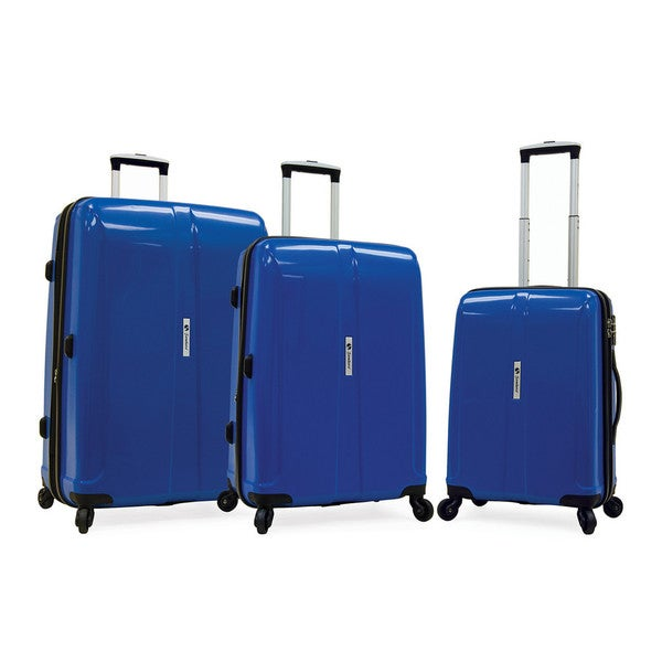Samboro Shuttle Blue 3-piece Expandable Hardside Spinner Luggage Set