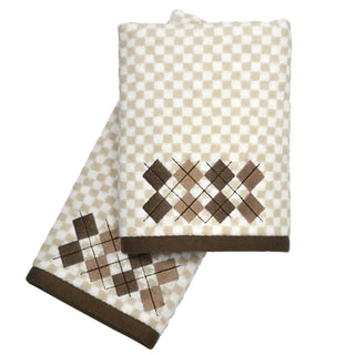 Peri Home Embroidered Argyle 2-piece Fingertip Towel Set