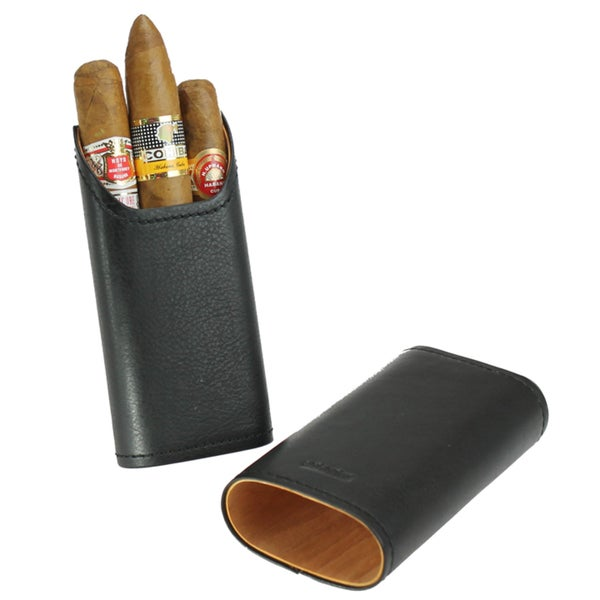 Adorini Black Leather Cigar Case