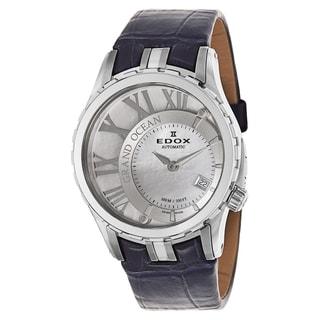 Edox Leather Men's 37008-3-BAIN Black Leather Strap Watch