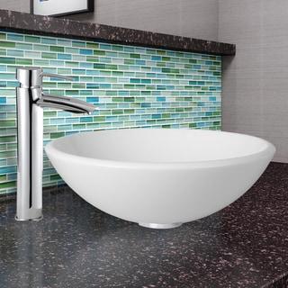 VIGO White Phoenix Stone Vessel Sink and Shadow Faucet Set in Chrome