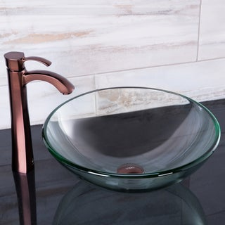 VIGO Crystalline Vessel Sink and Otis Faucet Set in Oil Rubbed Bronze