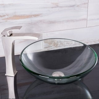 VIGO Crystalline Vessel Sink and Blackstonian Faucet Set in Brushed Nickel