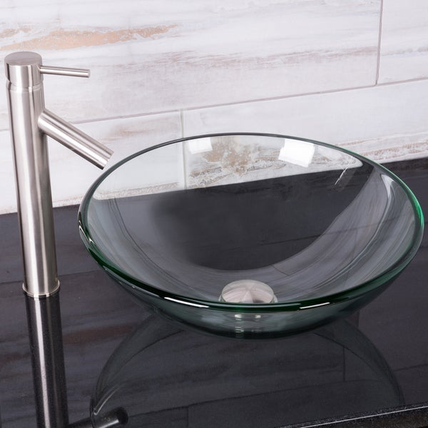 VIGO Crystalline Vessel Sink and Dior Faucet in Brushed Nickel
