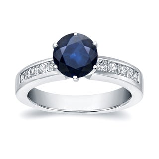 Auriya 14k White Gold 1ct Blue Sapphire and 1/2ct TDW Diamond Ring (H-I, SI1-SI2)