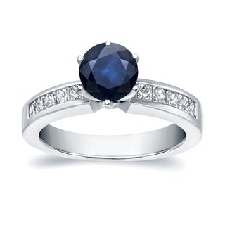 Auriya 14k White Gold 3/4ct Blue Sapphire and 1/2ct TDW Diamond Ring (H-I, SI1-SI2)