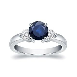 Auriya 14k White Gold 1/2ct Blue Sapphire and 1/3ct Diamond 3-Stone Ring (H-I, I1-I2)