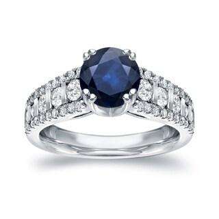 Auriya 14k White Gold 1 1/4ct Blue Sapphire and 3/4ct TDW Round Diamond Ring (H-I, I1-I2)