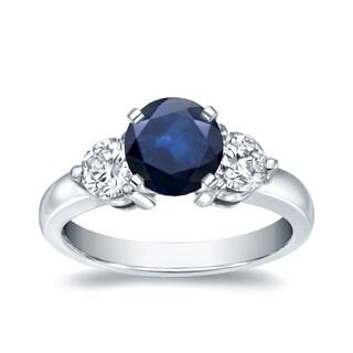 Auriya 14k White Gold 3/4ct Blue Sapphire and 3/4ct TDW Diamond Three Stone Ring (H-I, I1-I2)