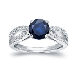 Auriya 14k White Gold 1ct Blue Sapphire and 1/3ct TDW Round Diamond Ring (H-I, SI1-SI2)