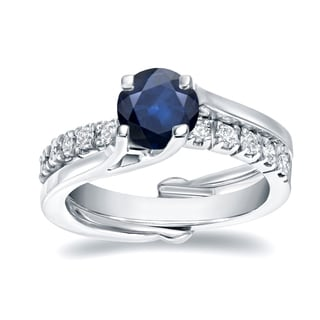 Auriya 14k White Gold 3/5ct Blue Sapphire and 2/5ct TDW Diamond Insert Bridal Ring Set (H-I, SI1-SI2)