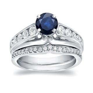 Auriya 14k White Gold 1/2ct Blue Sapphire and 4/5ct TDW Diamond Bridal Ring Set (H-I, I1-I2)