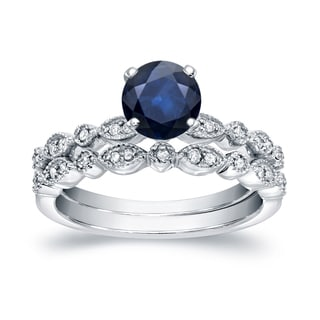 Auriya 14k White Gold 3/5ct Blue Sapphire and 1/6ct Vintage Style Bridal Ring Set (H-I, I1-I2)