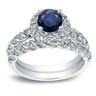 Auriya 14k White Gold 1ct Blue Sapphire and 3/5ct TDW Diamond Rope Style Halo Bridal Ring Set (H-I, I1-I2)