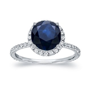 Auriya 14k Gold 2ct Blue Sapphire and 3/5ct TDW Diamond Halo Ring (H-I, SI1-SI2)