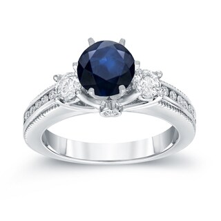 Auriya 14k White Gold 7/8ct Blue Sapphire and 3/5ct TDW Round Diamond Ring (G-H, SI2-SI3)