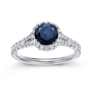 Auriya 14k White Gold 1ct Blue Sapphire and 3/5ct TDW Round Diamond Halo Ring (H-I, SI1-SI2)
