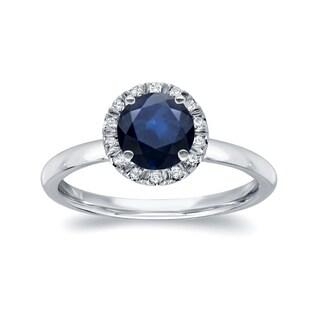 Auriya 14k White Gold 7/8ct Blue Sapphire and 1/6ct TDW Diamond Halo Ring (H-I, SI1-SI2)