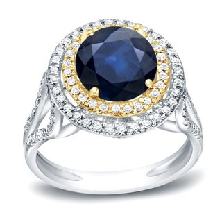 Auriya 14k Two-Tone Gold 1 1/4ct Blue Sapphire and 1/2ct TDW Diamond Double Halo Ring (H-I, SI1-SI2)