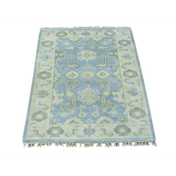 Hand-knotted Silver Wash Oushak Pure Wool Oriental Area Rug (2' x 3')