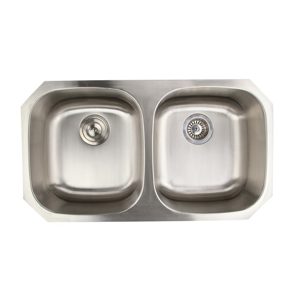 16 Gauge Double Bowl Undermount Kitchen Sink in 50/50 Ratio with Drains