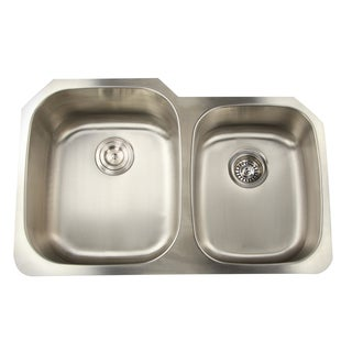 16 Gauge Double Bowl Undermount Kitchen Sink in 60/40 Ratio with Drains