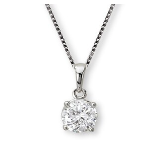 Avanti Sterling Silver Cubic Zirconia Round Solitaire With Bail Necklace
