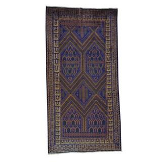Handmade Wide Runner Tribal Design Afghan Baluch Area Rug (4'2 x 8'2)