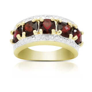 Dolce Giavonna Gold Over Sterling Silver Gemstone and Diamond Accent Five Stone Ring