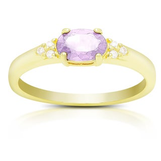 Dolce Giavonna Gold Over Sterling Silver Gemstone and Cubic Zirconia Ring