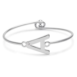 Silverplated Brass Initial Bangle Bracelet with Cubic Zirconia Accent