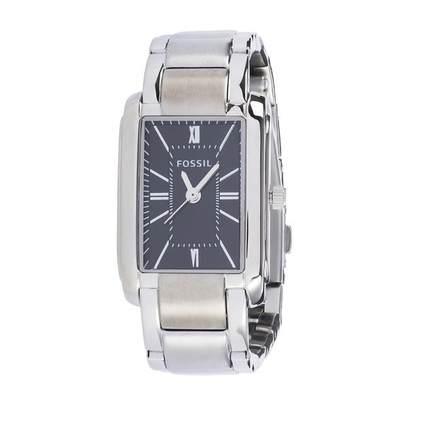 Fossil Women's PR5423 Analog Rectangle Black Dial Silver-Tone Stainless Steel Bracelet Watch