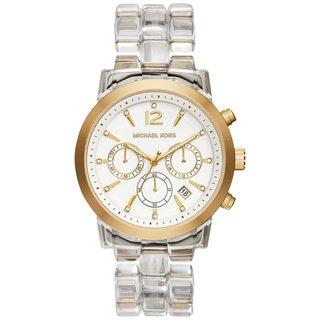 Michael Kors Women's MK6200 Audrina Diamond Chronograph White Dial Clear Acetate Bracelet Watch